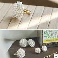 Wholesale Act The Role Of Manufacturers Selling Korea Elegant Temperament Mushroom Head White Pearl Ring New Joker
