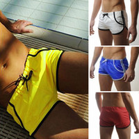 Men Shorts Pure Colour 4PCS Lot Free Shipping Sexy Mens Swimming Swim Trunks Shorts Slim Super Swimsuit Sexy Strings Pockets Swimwear Beachwear Boxers Briefs Fit