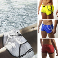 Cheap Free Shipping Sexy Mens Swimming Swim Trunks Shorts Slim Super Sexy Pockets Swimwear Beachwear Boxers Briefs Fit Clear Promotion S M L XL