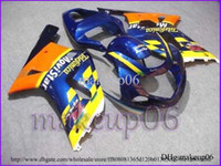 Wholesale GSXR600 GSXR750 Telefonica yellow blue Body Kit Fairing for Suzuki GSXR GSXR750 GSX R K1 A