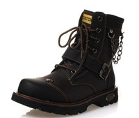 Wholesale new Fashion High help Men s leather boots rivets Martin boots Big yards leisure keep warm Man cowboy boots
