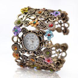 Wholesale Lady Beads Wrap Flower Dial Leather Bangle Bracelet Quartz Wristwatch Watch Alloy Analog Hours Times Wrist Women Girl Watches Fashion Style