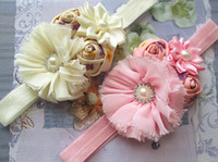 Wholesale Flower headbands Chiffon Flowers With Double mini color rose With Satin Ribbon Flower Baby Headbands