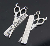 Charms antique comb - Hot Antique Silver Zinc Alloy Scissors Combs Charms Pendants Pendants x21mm b0024