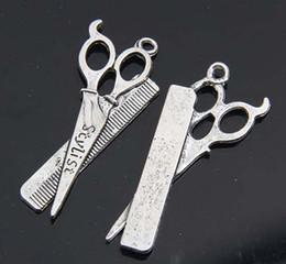 Wholesale Hot Antique Silver Zinc Alloy Scissors Combs Charms Pendants Pendants x21mm b0024