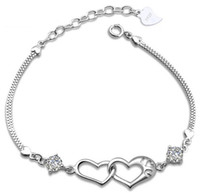 Bohemian bangles with diamonds - New Love Charms Heart to Heart Bracelet With Luxurious CZ Diamond Silver Bangle Bracelet Freeshipping