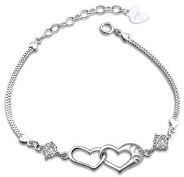 New Love Charms Heart to Heart Bracelet With Luxurious CZ Diamond Silver Bangle Bracelet Freeshipping