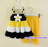Wholesale Christmas Girls pc Set Infant Yellow Vest Tutu Skirt amp Baby Pants Girl Ruffle Big Flower Dress Sets T pc sets pc dress pc pants