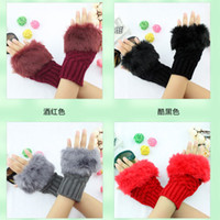 Wholesale 12Pairs Rabbit Hair Fingerless Gloves Winter Knit Woolen Half Finger Computer Glove Woman Girl Lady Daughter Christmas Gifts