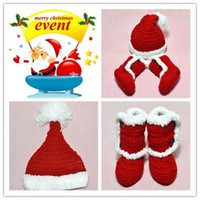 Wholesale Cute Santa Claus Type Baby hats shoes Girls Boys Wool Knitted Sweater Cap Hat Shoes set Christmas Gift For Children