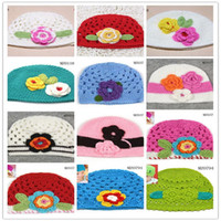 Wholesale Lovely Crochet Baby Flower Hat Hand Knitted Baby Flower Hat Crochet Girls Spring Hat Baby Beanie Christmas Gift