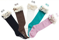 1-3T baby socks free shipping - Hot sell Baby girl socks kids Stockings classic knee boot high socks with lace solid color cotton colors