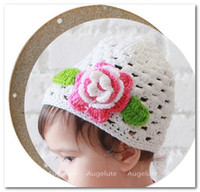 baby hand ornament - Fashion children Boutique hair ornaments baby girl cute flowers Hand crocheted hat kid ALL Match hollow Knitting hat