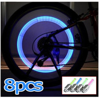 Wholesale 8PCS Bike Bicycle Cycling Car Tyre Wheel Neon Valve Firefly Spoke LED Light Lamp not including battery