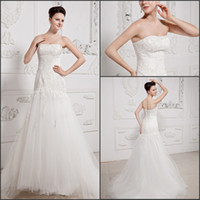 Wholesale Wonderful applique strapless sweep length Wedding Dresses with bandage designer for women Bridal Gown customed wedding Party Gown