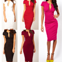 Wholesale 2014 Women Summer Elegant Ladies Sexy Prom Office Dresses V Neck Fashion Celebrity Pencil Work Pocket Party Slim Bodycon OL Dress G0260