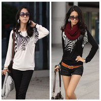 Wholesale 2013 New Fashion Women Clothing T Shirt Sexy Tops Tee Clothes Ladies T shirt Long Batwing Sleeve Zebra Print Loose Tops Tees G0257