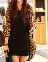 Wholesale New Sexy Fashion Ladies Batwing Long Sleeve Leopard Print Blouse For Women Chiffon Loose Top G0216