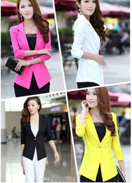 Wholesale Fashion Women s Suit Blazer Tunic Foldable Jacket Women Candy Color Ladies Office Clothes One Button Shawl Cardigan Coat Outerwear G0258