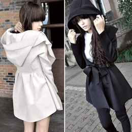 Wholesale New Arrival Autumn Winter Fashion Korean Women s Coat Hooded Trench Coat Hood Outerwear Dresses Style With Belt G0227