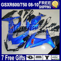 Wholesale 7giftsForSUZUKI K8 HOT GSX R600 GSXR Blue black R750 MF4A15 GSXR750 GSXR600 GSXR Gloss blue Fairing