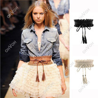 Wholesale S5Q New Sweet Women Girl Fringed Lace Elastic Stretch Buckle WaistbandBelt Strap AAAAVS
