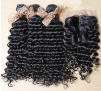 Wholesale Brazilian Virgin Hair deep wave kinky curly hair weave Piece Lace Top Closure with hair bundle natural color