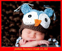 Wholesale Hot Selling Cotton OWL Kids Manual Cap Crochet Lovely OWL Beanie Handmade Cap Children OWL Hat