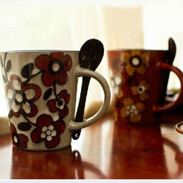 Wholesale 380ml Elegant Hand painted Stoneware Porcelain Coffee Mug Ceramic Milk Cup with Spoon Premiums Gift SH106