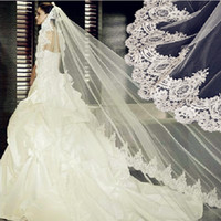 Wholesale Vintage White Ivory Long Tulle Wedding Bridal Veil One Layer Applique Lace Wedding Veils DH6662