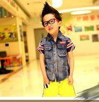 Boy Summer Short-Sleeved 2013 New Summer Handsome Fashion Boy baby Denim lapel short-sleeved shirt jeans wear kids Tops clothing, ZAU55