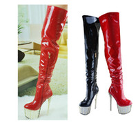Martin Boots red tube sexy - New Nightclub Sexy Pole Dancing Boots patent leather high glue tube high boots with rivet knee high boots