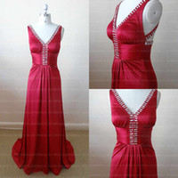 Elastic Satin good evening - High Quality V neck Red Formal Evening Dresses With Rhinestone Pleat Long Red Wedding Party Dresses Show Good Figure Satin