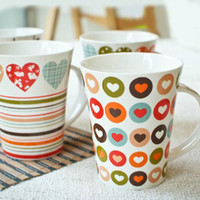 Wholesale 350ml Lovely Heart Printing Porcelain Coffee Milk Mug Dining and Bar Accessories SH108