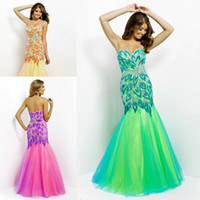 Reference Images Sweetheart Chiffon Pink Green Yellow Sequin Peacock Feather Tulle Mermaid Prom Evening Dresses Party Gowns 2014 New Arrival