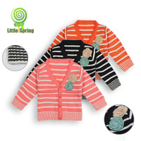 Wholesale children stripe cardigan with flower pattern children Outerwear Children s Cardigan Sweater Hoodies amp Sweatshirts KLZ S0168