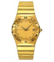 Luxury auto plates - Luxury brand men s watch Swiss Auto watch Mens Quartz Gold plated wrist watch OM23