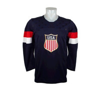 Men Full Polyester 2014 Olympic USA Jersey Navy Blue Color Hockey Wears Hockey Jerseys