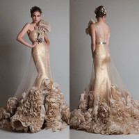 Wholesale Luxurious Sexy Gold Sleeveless One Shoulder Mermaid Trumpet Zuhair Murad Wedding Bridal Prom Dresses With Flower And Sash