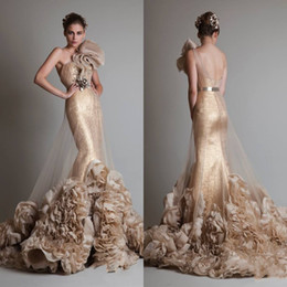 Free Shipping Luxurious Sexy Gold Sleeveless One Shoulder Mermaid  Trumpet Zuhair Murad Wedding Bridal Prom Dresses With Flower And Sash