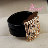 Party Alloy Cluster Rings gold silver diamond black jewelry stone women's ring sz 6 7 8 (nnsssp)
