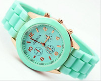 Wholesale New Product luxury Fashion Lady Brand Rose Gold Diamond Quartz Silicone Jelly Watch For Women L279