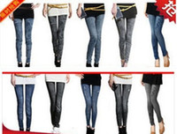 Wholesale Women Leggings New Denim Jeans women girl Sexy Leggings Jeggings Tights Skinny Pants Jean Legging YH031