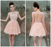2014 Short Blush Pink Evening Cocktail Dresses Sheer Bateau ...