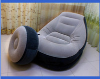 Wholesale Intex elegant thickened inflatable sofa armchair with an air footstool and an air pump brand single air PVC flocking sofa chair