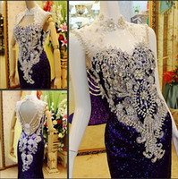Chiffon long dresses - 2015 Newest Luxury High Collar Formal Evening gowns With Rhinestone Sequin Shining Evening Dresses Sequin Long Purple prom dress Dress