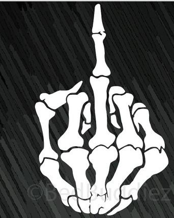 SKULL Skeleton Bone Middle Finger Flipping Off Car Decal  Sticker - Skull decals for trucks