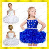 Wholesale 2014 Cute White Royal Blue Short Organza Ruffle Cupcake Ball Gown Lace up Shimmering Shiny Crystals Beaded Girls Pageant Dresses Cheap