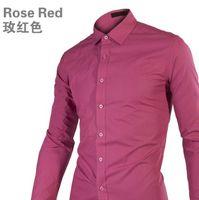Wholesale Hot High Quality European Men s Businese Slim Shirts Long Sleeve T Shirts Cotton Colors You Can Pick Size M L XL XXL Plus Size