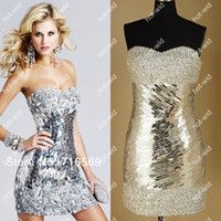 Wholesale 2013 Sexy Silver Sheath Satin Cocktail Dresses with Sequins Beads and Sweetheart Neckline get bracelet for free